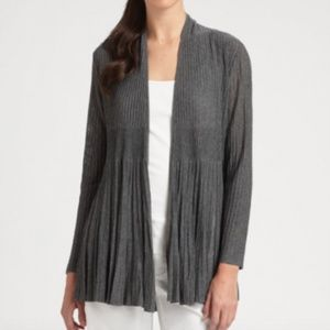 Eileen Fisher Cinder Gray Long Pleat Cardi Sweater